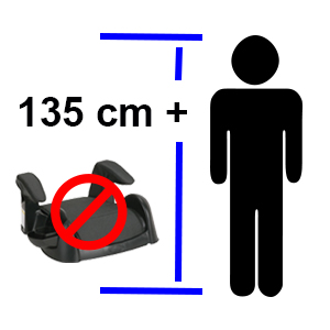NO child car seat required for children over 135 cm in height!